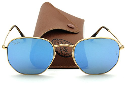 Ray-Ban RB3548N HEXAGONAL FLAT LENSES Mirrored Sunglasses (Gold Grame/Blue Gradient Flash Lens 001/9O, - Blue Ray Bans Flash Gradient