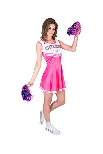 Cheap Womens Costumes (Karnival Women's Pink Cheerleader Costume Set - Perfect for Halloween, Costume Party Accessory. Trick or Treating (S))