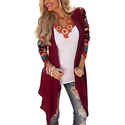 Manica Eleganti Stampato Autunno A Mode Giacca Moda Donna Maglia Outerwear Cardigan Lunga Retro Cappotto Asimmetrica marca Maglia Cappotto Casual A di Irregolare Festiva OtxwZZ
