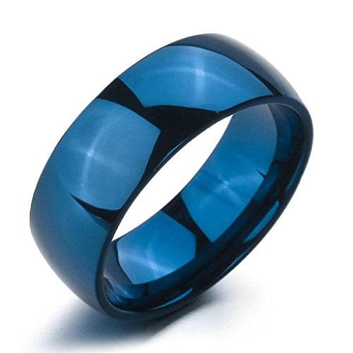 Aooaz Stainless Steel Rings For Women Men Polished Bands Blue Rings Wedding Gothic Size 6 Free Engraving -