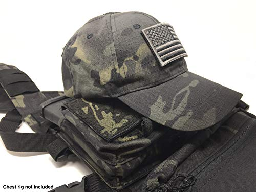 Emproda Multicam Black Tactical Cap Bundle with USA Flag Patches, Durable Hat with Moral Patches, Adjustable Tactical Cap Fit Most, Perfect for Training, Hunting, Airsoft, Operation, Camping, Hiking