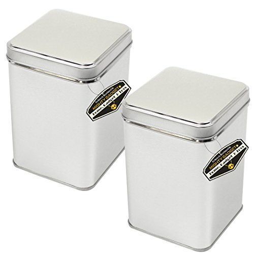 """Mighty Gadget (R) Large Size Square Empty Slip on Lid Survival Tin Container for Geocaching or Survival Gear (2 Pack) - 3.5625"""" x 3.5625"""" x 5"""""""