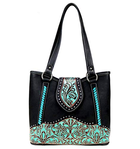 Trinity Ranch Womens Concealed Carry Tote Purse Tooled Leather Collection TR81G-8317 Black