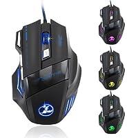 Zelotes 5500 DPI 7 Botón LED Óptico USB con conexión de ratón Ratones de ratón para juegos para Pro Gamer