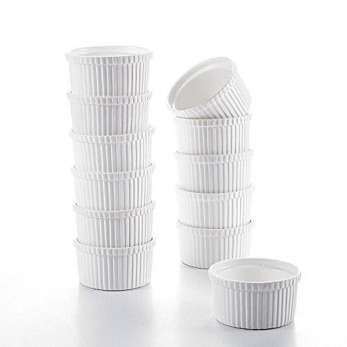 Malacasa 12-Piece Ivory White Porcelain 4.3' (10.5oz) Ramekins Souffle Dishes Dipping Bowls Baking Dish Set