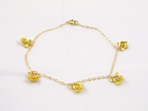 Delicate Bracelet with Tiny Orchid Flowers Charms / Romantic Jewelry / 14k Gold Filled Chain (Delicate Orchid)