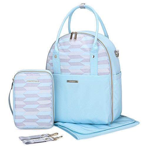 MOMMORE Fully Opened Baby Diaper Bag Light Blue Travel Backpack with Portable Insulated Bag for Pregnant Wife