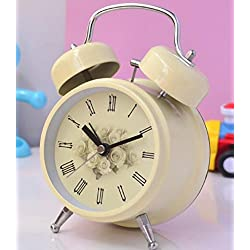 Ayzr Classic Double Bell Alarm Clock High-End Retro Rome 3.5 Inch Bedroom Living Room Lounge Student Dormitory Clock,Yellow