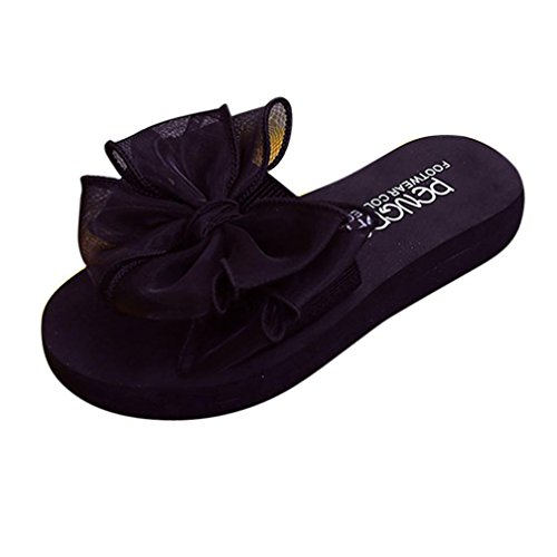 Clode® Womens Slipper, Fashion Summer Ladies Girls Bowknot Peep Toe Flat Slipper Sandals Beach Shoes for Holiday,Party Black