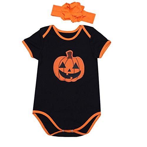 FEESHOW Infant Baby Girls Pumpkin First Halloween Costume Tutu Romper Headband Outfit Set (3-6 Months, Black Orange Bodysuit)