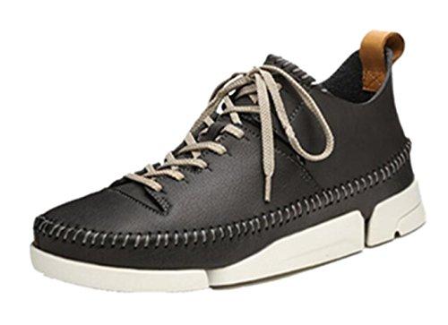 Happyshop Tm Heren Echt Leer Antislip Wandelschoen Vrijetijdsschoen Sneakers Sportschoenen (us 8.5, Zwart)