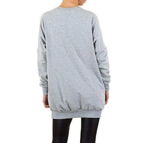 Oversize Strass Long Sweatshirt Für Damen , Grau In Gr. S/M bei Ital-Design