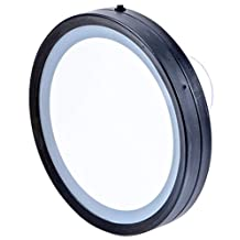 Ovente Battery Operated LED Lighted Compact Travel Mirror, 6 inch, Hand Painted Oil Rubbed Bronze