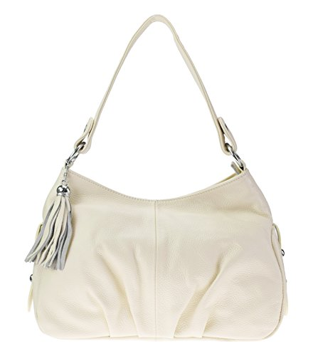 (SAIERLONG Women's Tote Single Shoulder Bag White Genuine Leather)