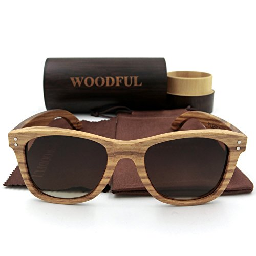 Wooden Sunglasses with Round Bamboo Glasses Case (Brown, - Wooden Case Sunglasses