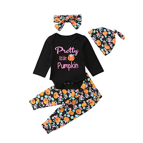 4Pcs Halloween Days Baby Girls Boys Pants Pumpkin Outfits Set, Newborn Letter Romper+Turkey Print Pants+Hats+Headband Clothes (Black, 6-12 Months)