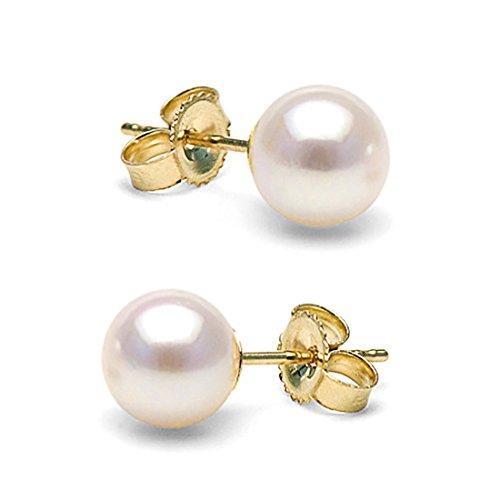 14K Cultured White Japanese Akoya Pearl Stud Earrings, AAA Quality (yellow-gold, 6.5-7.0mm)