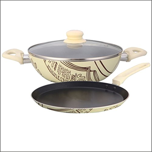 Wonderchef Picasso Aluminium Cookware Set, 3 Pieces, Black/Cream
