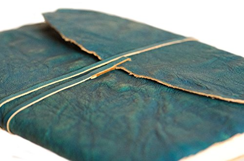 INDIARY Genuine Goat Leather Journal Notebook – Finest Leather – Handmade Paper – High Quality 7×5 – Grain Leather – turquoise