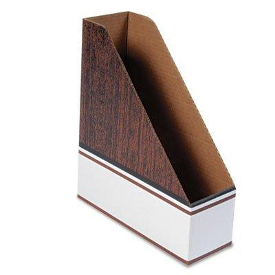 Corrugated Cardboard Magazine File, 4 x 11 x 12 3/4, Wood Grain, 12/Carton
