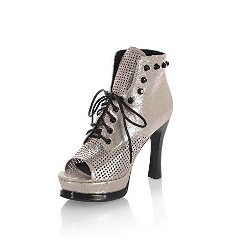 AgooLar Women's Solid Pu High Heels Open Toe Lace Up Sandals Gold Iz8ml