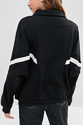 Survêtement Noir Longues Full Cordon Manteau Zip Veste Tops Manches Femmes TqvOq