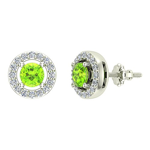 Natural Peridot Halo Stud Diamond Earrings 14K White - 14k Gold Peridot Earrings