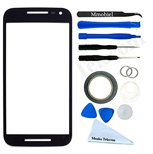 [Display for Motorola Moto G 2nd Gen G2 Black screen Glass replacement kit 12 pieces tool kit / pre cut Sticker / cleaning cloth / suction cup MMOBIEL] (G2 Replacement)