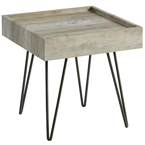 Sarina Rustic Industrial Metal & MDF Accent Table in Antique Grey
