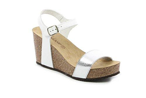 GRUNLAND SB0390 CEKE Sandalo Donna P./S. BIANCO-ARGENTO