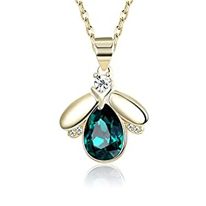 KesaPlan Swarovski Crystal Bee Necklace for Girls, Emerald Crystal Pendat Necklace, 18K Gold Plated Women Necklace,Gift…