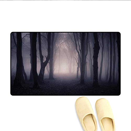 Bath Mat,Path Through Dark Deep in Forest with Fog Halloween Creepy Twisted Branches Picture,Door Mat Indoors Bathroom Mats Non Slip,Pink Brown,Size:32