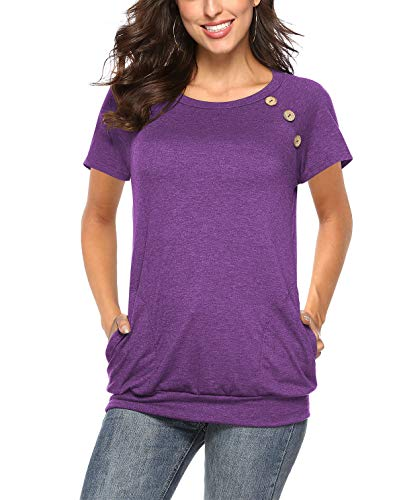 Nikashin Womens Button Splice Short-Sleeved Shirt 2-Purple-XL
