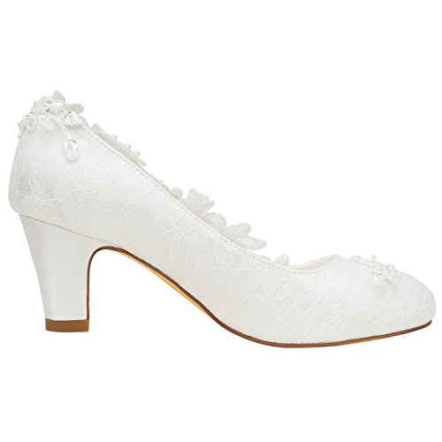 avec Soie Femmes comme dentelle Blanc bottier Couture du Escarpins de Une Talon fleur Pearl chaussures satin Cristal mariée Emily Bridal Cassé qx7wAA