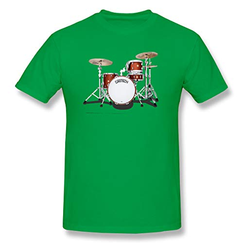 WENSON Men's Gretsch-Drums-Gretsch-Catalina-Club-Jazz-percussio-Drumset Classic T-Shirts Green L with Short Sleeve