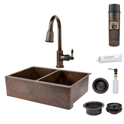Premier Copper Products KSP2_KA50DB33229 33-Inch Hammered Copper Kitchen Apron 50/50 Double Basin Sink with Pull Down Faucet, Oil Rubbed Bronze (33 Inch Copper Hammered Kitchen)