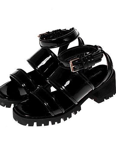 Tacón Black mujer Negro Blanco Semicuero Punta LFNLYX Robusto Zapatos Casual Vestido Plataforma de Punta Redonda Sandalias Abierta STwgtFqa