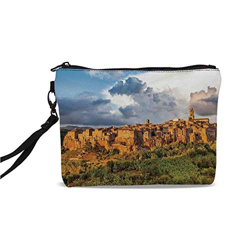 Medieval Decor Simple Cosmetic Bag,Old Medieval Town with Stone Houses on the Valley Historical Europe Tuscany Photo for Women,9