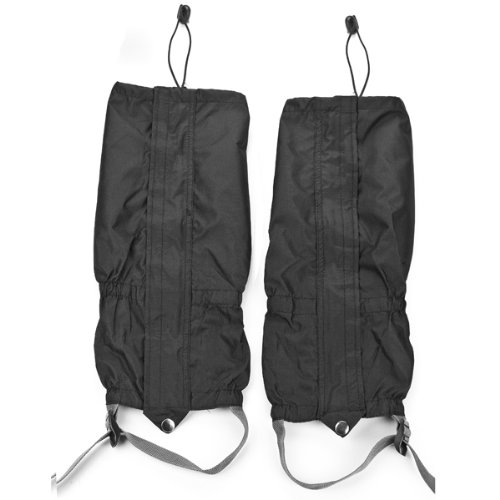 Astra Depot 1 Pair Jet Black Unisex Double Sealed Zippered Closure TPU Strap Waterproof Breathable 400D Nylon Cloth Leg Gaiters Leggings Cover for Rain Winter Outdoor Sports - Adult Boots Biking Dirt