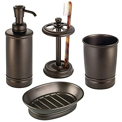 mDesign Metal Bathroom Vanity Countertop Accessory Set - Includes Refillable Soap Dispenser, Divided Toothbrush Stand, Tumbler Rinsing Cup, Soap Dish - 4 Pieces - Bronze - 4 PIECE SET: Includes a tall soap pump - fill with your favorite liquid soap solution or hand sanitizer; It is easy to refill, just unscrew the top - the wide mouth makes refills easy; The tumbler cup is perfect when you need a drink of water, a rinse after brushing or use it to contain large toothpaste tubes and spin toothbrushes; The divided toothbrush stand has 4 sections to keep toothbrushes secure; The soap dish has ridges to keep water away and extend the life of your soap STYLISH STORAGE: Organize and enhance your bathroom quickly and effortlessly with this vanity set; This set provides you with everything you need to outfit your bathroom sink; Use the items together in larger bathrooms or use them separately when space is limited or your needs change; The items provide storage for daily essentials and the high-quality materials and finishes will complement your home decor; Foam pads on the bases keep the items secure and surfaces free from scratches FUNCTIONAL & VERSATILE: The small, slim designs work well in large or smaller bathrooms, use all the pieces together in master or family bathrooms, use pieces individual for half and smaller guest bathrooms; The pump can be used in the kitchen, laundry room or next to any sink; Create a fashionable storage container for makeup brushes and other beauty tools using the cup; The toothbrush holder is also great for beauty tools - hold eyeliner, lip pencils, lip glosses, orange sticks and nail files - bathroom-accessory-sets, bathroom-accessories, bathroom - 41odsfoHl0L. SS400  -