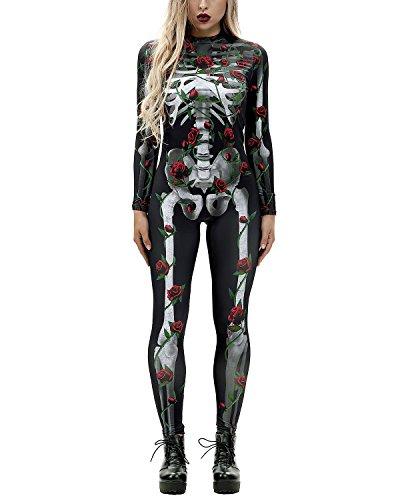 Women 3D Style Halloween Cosplay Costumes Jumpsuit Bodysuit (Large, Rose Skull-B)