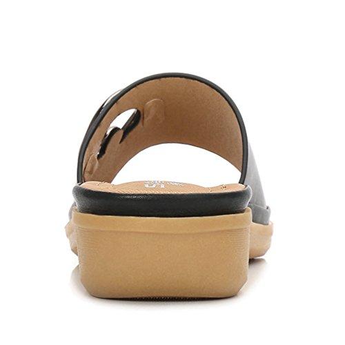 de causalité Slide de Open la Womens on Confort Plat Sandales Été JRenok Toe Forme Chaussure Noir Plate de Sandales Slip xwZgq6