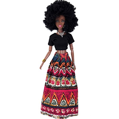 : Rambling African American Dolls Baby Movable Joint Toy Best Birthday Gift (Red)