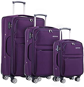 Jellystars Softside 3 Piece Suitcase with Buit-In TSA Lock (3 Colors)