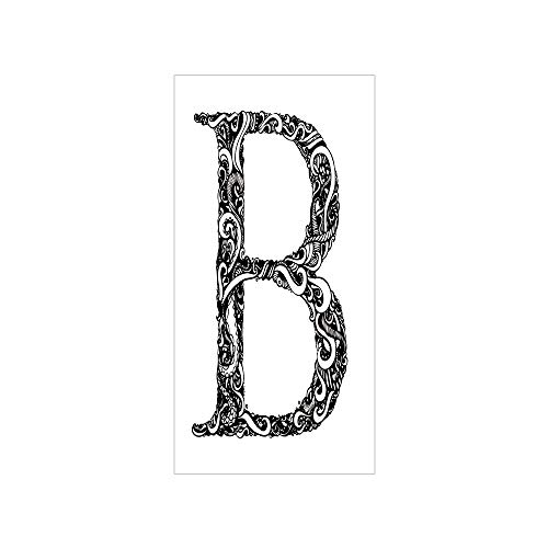 (3D Decorative Film Privacy Window Film No Glue,Letter B,Black and White Abstract Swirls Classic Design Alphabet Uppercase B Symbol Print,Black White,for Home&Office)