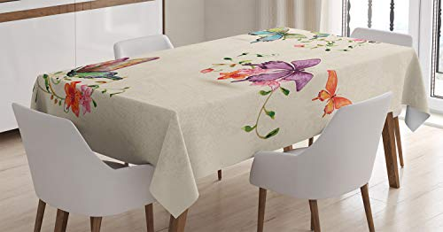 Ambesonne Butterfly Tablecloth, Butterfly Pattern on Vintage Style Background Wings Moth Transformation, Dining Room Kitchen Rectangular Table Cover, 52