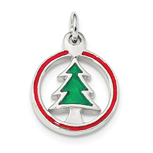 LavaFashion Sterling Silver Polished Finish Enameled Christmas Tree Circle Charm (26 mm x 16 mm) ()