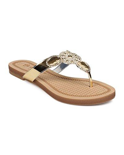 DbDk EG60 Women Metallic Embossed Boho Slip on Thong Sandal - Gold