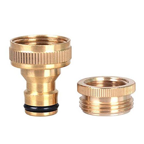 Ocaler Brass Hose Quick Connect Garden Hose Tap Connector 1/ 2 Inch to 3/ 4 Inch Brass Hose Pipe Fittings Water Hose Faucet Adapter