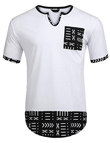 Simbama Mens Hipster Hip Hop Aztec Graphic Print Longline T-Shirt (Aztec Pattern Shirt)